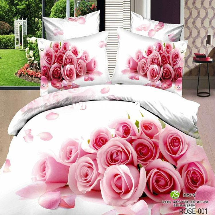 Pink Rose 3D Printing Bedding Set Bedlinen Comforter/quilt/duvet Cover Sets  Bedsheet Bedclothes 100% Cotton Queen Bed Size Bedding Set Cheap Bedding  Set ...