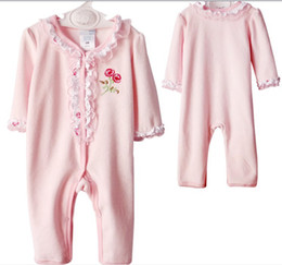 Wholesale Wholesale Fleece Pajamas - Baby Girls Velour romper fleece Bodysuits baby Infant pajamas Rompers sleeper outfit PREORDER #2982