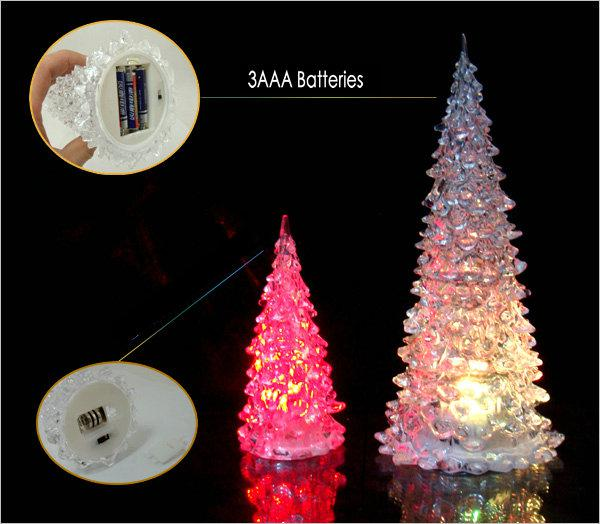 18cm christmas tree led lights decoration night mini light lamp changing acrylic holiday hyaline holder light winter lane tabletop holiday decoration - Christmas Tree Led