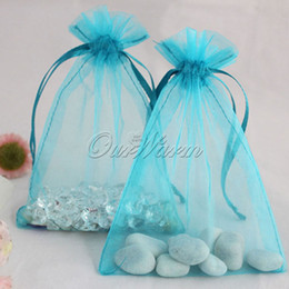 "Wholesale Sheer Organza Jewelry Pouches - Aqua Blue 50 Pieces 5""x7"" 13cm x 18cm Strong Sheer Organza Pouch Wedding Party Supply Favor Jewelry Gift Candy Bag -PUH-18"