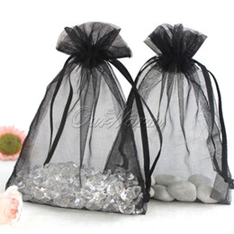 """Wholesale Black Organza Jewelry Bags - Black 50 Pieces 5""""x7"""" 13cm x 18cm Strong Sheer Organza Pouch Wedding Favor Jewelry Gift Candy Bag Color Hot Sale -PUH-18"""