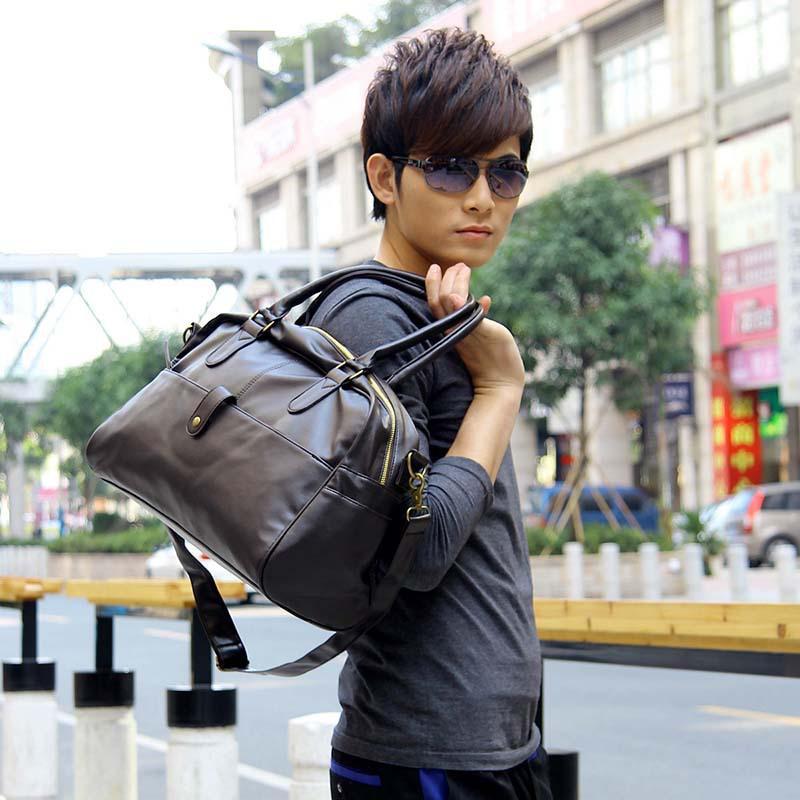 Korean Men'S Gym Duffle Satchel Travel Pu Leather Handbag Shoulder ...