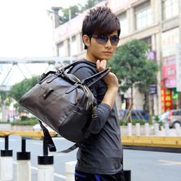Wholesale Duffle Bag Man Leather - Korean Men's Gym Duffle Satchel Travel PU Leather handbag Shoulder Bag for Men Wholesale H9551