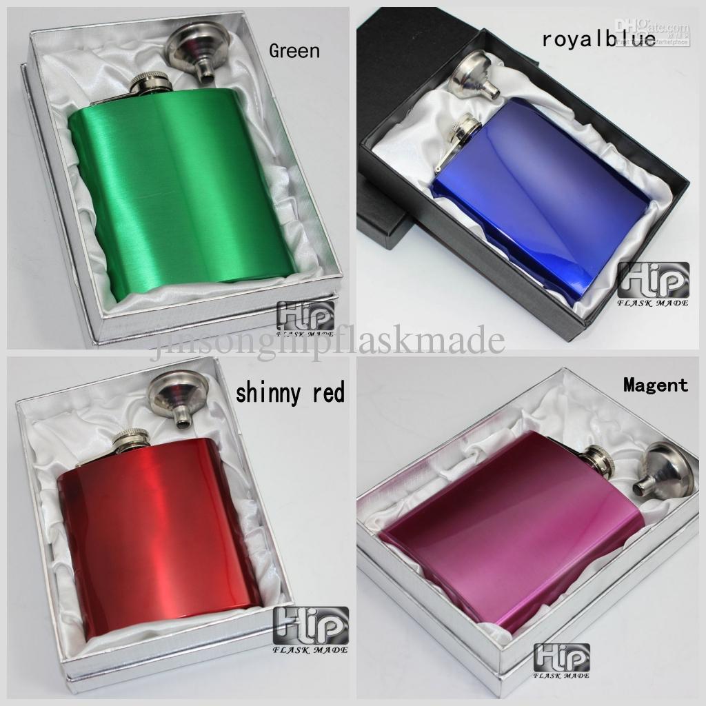 Fiaschetta di liquore 7OZ con imbuto in colore verniciato in scatola regalo, blu, rosso, magenta, verde, colore misto