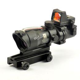 Wholesale Rifle Scope Illuminated - Trijicon ACOG Style 4X32 Fiber Source Red Illuminated Scope w  RMR Micro Red Dot