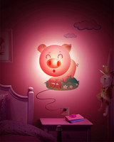Wholesale Pig Wallpapers - Smile Pink Pig Night Light Lamp DIY 3D Wallpaper Novelty Cartoon Wall Stickers Lamp for Kid's Bedroom Home Decor Decoration