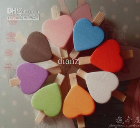 Pochette mémo en bois en forme de coeur Amour dossier de mariage petite pince en bois mini pince en bois 10 couleurs