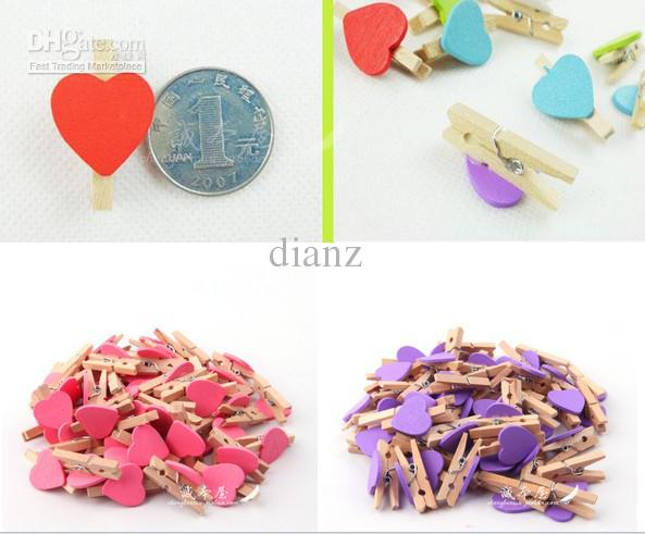 Carpeta con forma de corazón Memo Clip de amor Boda pequeño clip de madera mini clip de madera es