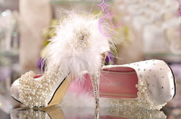 Wholesale Princess White High Heels - fashion crystal wedding high heel single shoes platform rhinestone lace flower Imitation pearl white feather princess pumps