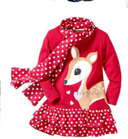 Wholesale cartoons baby pictures - Autumn Cartoon Sika deer picture dot montage girls long sleeve dress with scarf 2pcs baby kids set Cant Pink Size And Colour All Random
