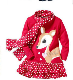 Wholesale Cartoons Pink Colour - Autumn Cartoon Sika deer picture dot montage girls long sleeve dress with scarf 2pcs baby kids set Cant Pink Size And Colour All Random