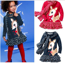 Wholesale Order Tutu - Autumn Cartoon Sika deer picture dot montage girls long sleeve dress with scarf 2pcs kids set XQZ Baby clothing factory Europe order QS196