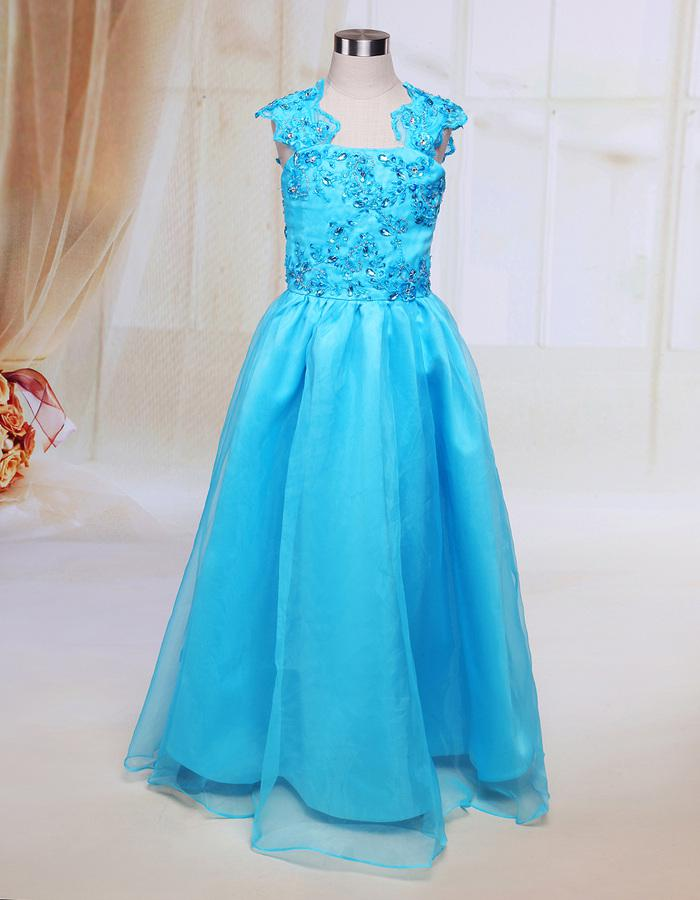 blue kids gown sweet design floor length beaded ruffle organza dress for wedding a line little girls dress