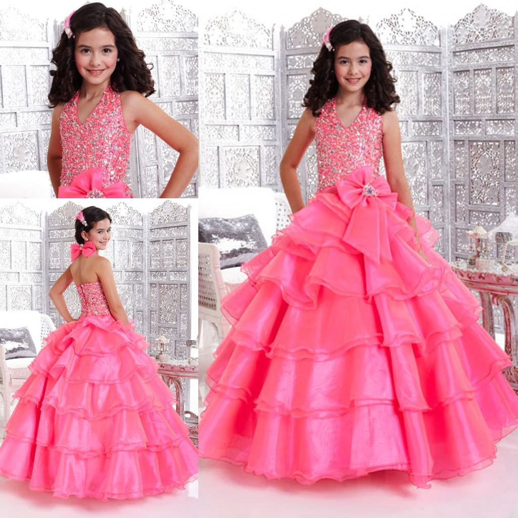 Kids Children Glitz Ball Gown Halter Beaded Bow Back Tiered Organza ...