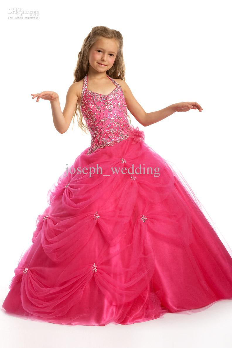 Enfants paillettes de beauté paillettes rouge chaud robe de bal cupcake robe sans manches en organza de petite fille à vendre ZFD-039
