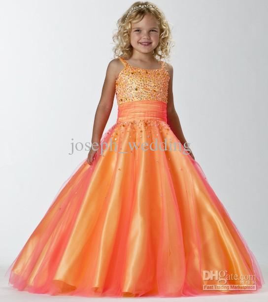 La couleur orange de beauté d'enfants de paillettes d'enfants une ligne sans manches d'organza perlée des robes de reconstitution historique de petite fille