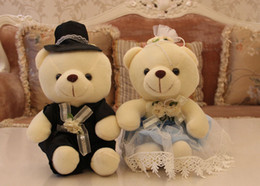 Wholesale Teddy Bears Dresses - plush teddy bear toy sitting bears lovers in wedding dress, bear toy for wedding gift