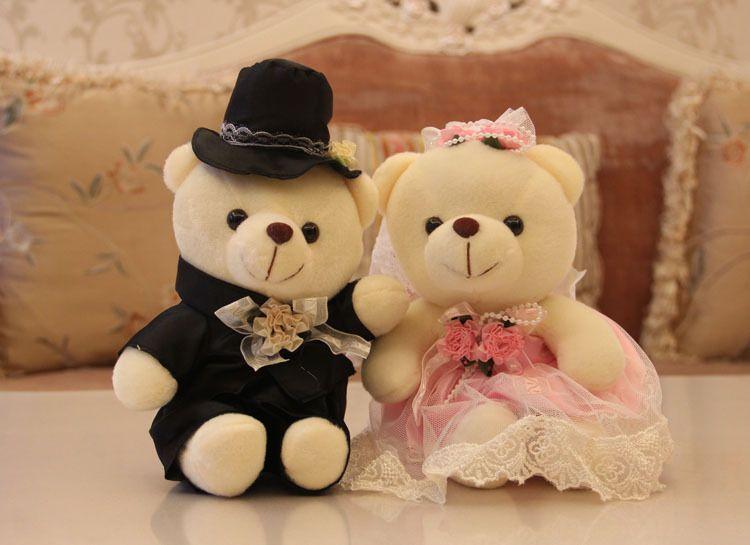 Pluche teddybeer speelgoed zittingen liefhebbers in trouwjurk, beer speelgoed voor huwelijksgeschenk