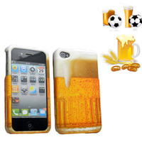 Wholesale Cool Iphone 4s Cover - New Cool 3D Flowering Beer Design Hard Snap-On Case Phone Cover for Apple iPhone 4 4S 4G with Free gift Stylus pen Film Screen protector