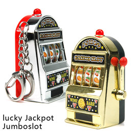 Discount key machines - Retail Novelty Mini Casino Slot Machine Keychains With Game Luminous Vocalization Key Chains Key Rings Free Shipping