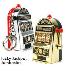 Wholesale boy machines - Retail Novelty Mini Casino Slot Machine Keychains With Game Luminous Vocalization Key Chains Key Rings Free Shipping
