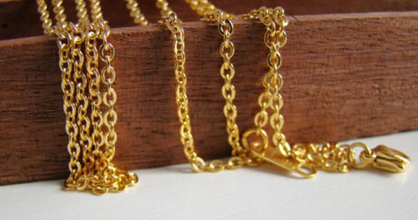 Libre DHL 100 metros de la venta caliente 18K chapado en oro de la manera de acero inoxidable 3 mm oval cadenas ROLO no cierre .jewelry finding DIY collar en bulto