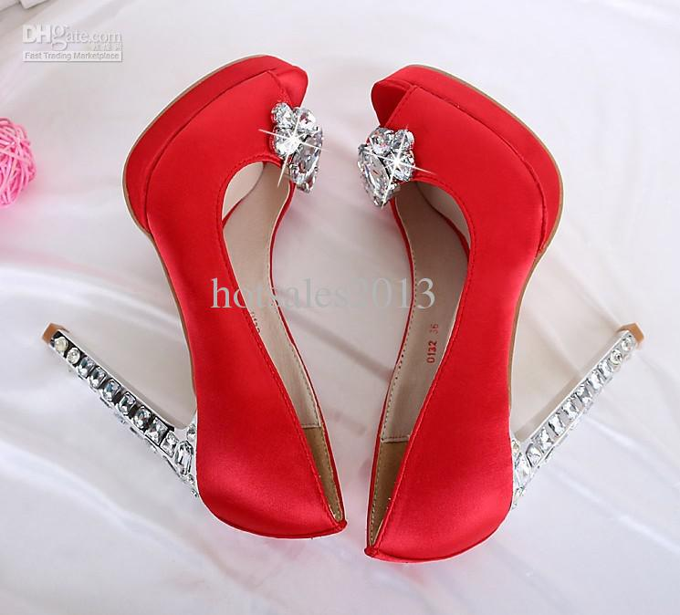 Dames Roze Zwart Rood Satijn Rhinestone Peep Toes Platform Pumps Dame Bruiloft Bruidsmeisje Party Jurk Hoge Hakken Sandaalschoen Gratis Shipp