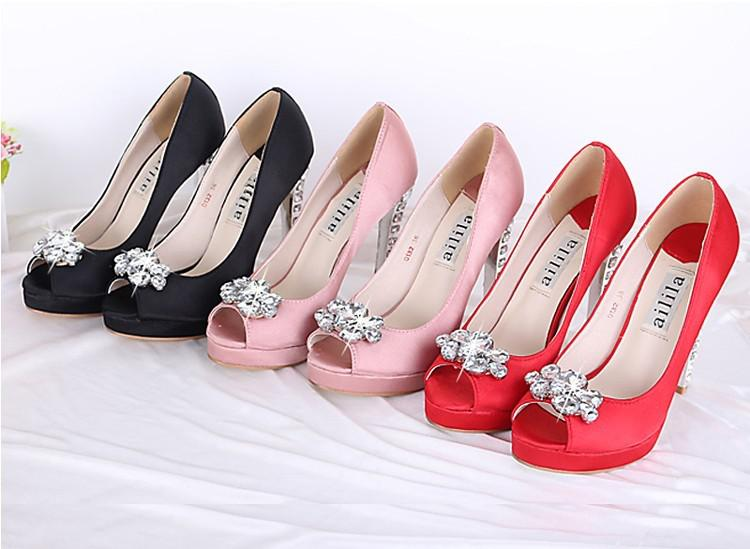 Pink High Heels For Wedding: 2016 Women'S Pink Black Red Satin Rhinestone Peep Toes