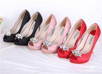 siyah saten elbise ayakkabıları toptan satış-Kadın pembe siyah kırmızı Saten Rhinestone peep Toes Platformu Pompaları Lady Düğün Gelinlik Parti Elbise Yüksek Topuklu Sandal Ayakkabı Ücretsiz Shipp
