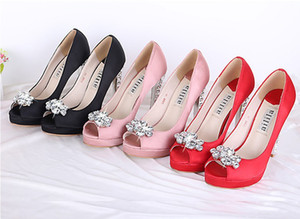Women's pink black red Satin Rhinestone peep Toes Platform Pumps Lady Wedding Bridesmaid Party Dress High Heels Sandal Shoe Free Shipp