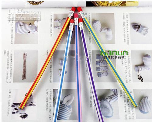 Pomotion! Novidade Barato Baixo Preço 18 cm dobrável flexível macio divertido lápis com borracha crianças escola oferta brinquedos presentes prêmio