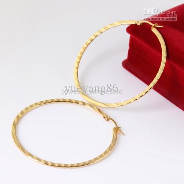 nes088 Moda ragazze / Donne 18K placcato in oro acciaio inossidabile affascinante 55mm anello rotondo anello orecchino, gioielli nave libera