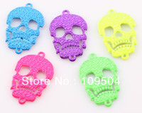 Wholesale Skull Connector Beads - NEW Fluorescent Neon Color Skull Connector Sideways Skeleton Head Connector Link Charm Beads Wholesale Skull Connector