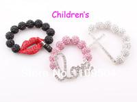 Wholesale Disco Ball Bracelets Cross - Children Sideways Cross Shamballa Bracelet Baby Kids Love Heart Lip Crystal Disco Ball Bracelet ZB50