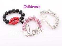 Wholesale Sideways Love Bracelets - Children Sideways Cross Shamballa Bracelet Baby Kids Love Heart Lip Crystal Disco Ball Bracelet ZB50