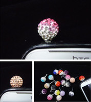 Wholesale Diamond Ball Plug - 10%off!New!Lovely monochrome ball diamond dust plug  earphone jack dustproof plug anti-dust plug cheap dust plug hiot sale.20pcs.HS