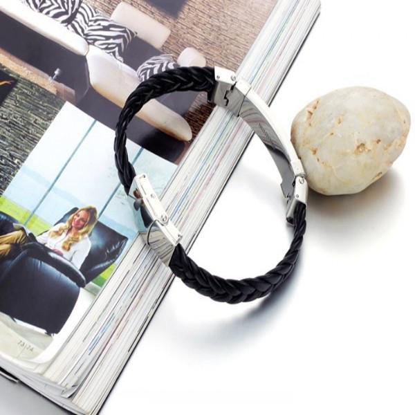 Presentes de natal 2013 nova marca de jóias de Prata PU Preto dos homens de Aço Inoxidável pulseira 8.26
