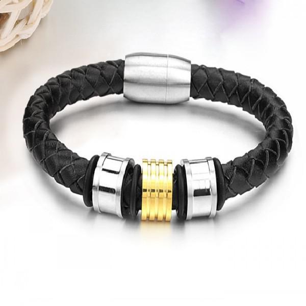 Mode-sieraden zwart lederen roestvrij staal heren charme armband armband goud zilver, gratis verzending voor echtgenoot