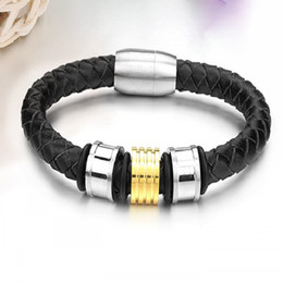 Easter gifts for husband canada best selling easter gifts for fashion jewelry black leather stainless steel mens charm bracelet bangle gold silverfree shipping for husband negle Image collections