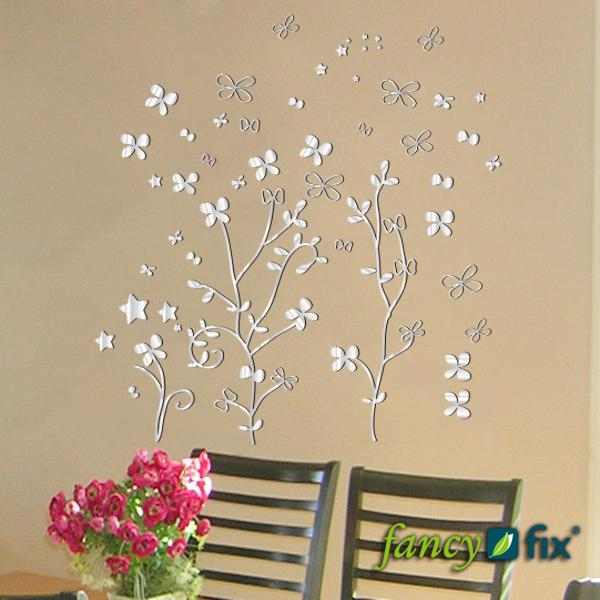 New arrivals vinyl mirror effect wall sticker decal flower shaped home decor mirrors stickers modern wall decal modern wall decals from beijia2013