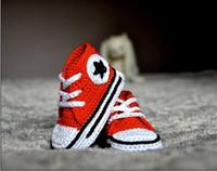rote krippen großhandel-15% RABATT ! ROTE Turnschuhbaby-Krippenschuhe / Häkelbabyschuhe / Taufe-Schuhe / preiswerte Schuhe / Kleinkindschuhe / Babyabnutzung / Tropfenverschiffen 1pairs / 2pcs