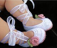 Wholesale Cheap Shoe Shopping Online China - White Satin ribbon crochet baby girl shoes cheap shoes china shoes shoes online shoes shop  shoes sale first walket shoes 1pairs 2pcs