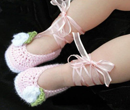 Wholesale China Kids Wear Wholesalers - Satin ribbon crochet pink baby girl shoes china shoes cheap shoes shoes shop baby wear shoes online kid shoes shoes sal 1pairs 2pcs