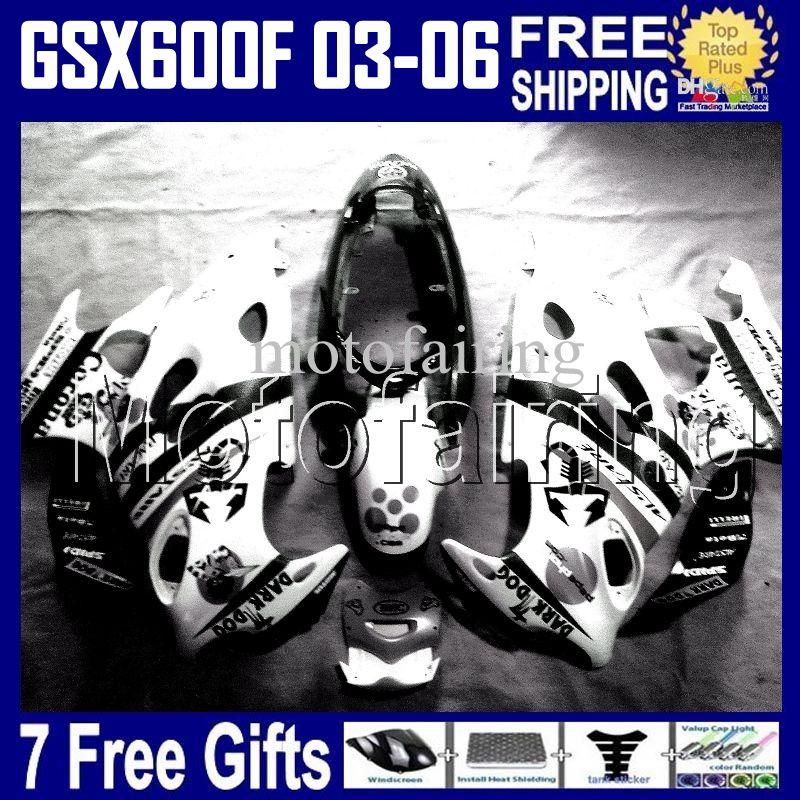 7cambios para Scorpion SUZUKI KATANA 2003 2004 2005 2006 GSX600F GSXF 600 BLANCO GSX 600F 2003-2006 HR1390 GSXF600 03 04 05 06 Kit de carenado
