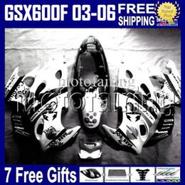 Katana fairing kit schwarz online-7gifts für Scorpion SUZUKI KATANA 2003 2004 2005 2006 GSX600F GSXF 600 Schwarz WEISS GSX 600F 2003-2006 HR1390 GSXF600 03 04 05 06 Verkleidung Kit