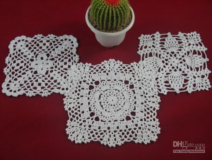 Groothandel - 100% katoen handgemaakte haak kleedje tafelkleed, 3 ontwerpen 11 kleuren Custom, vierkant 15-20 cm haak applique / TMH307