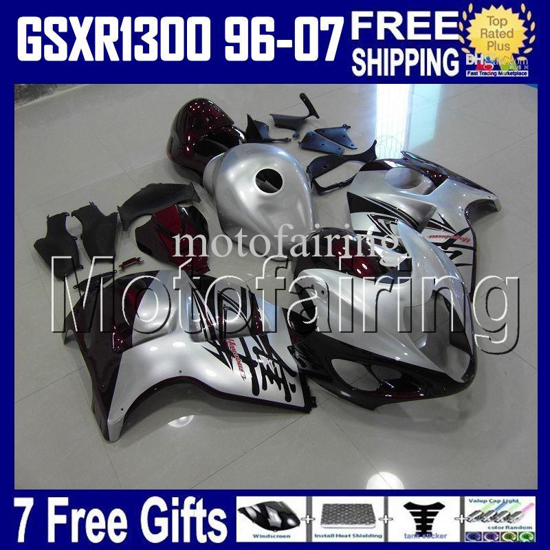 7giftsTank SUZUKI Hayabusa GSXR1300 argento rosso scuro 96 97 98 99 00 01 02 03 04 05 06 07 HR1623 GSX R1300 GSX-R1300 Carene 1998-2007