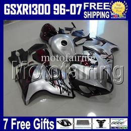 Wholesale Suzuki 99 - 7gifts&Tank For SUZUKI Hayabusa GSXR1300 dark red silver 96 97 98 99 00 01 02 03 04 05 06 07 HR1623 GSX R1300 GSX-R1300 1998-2007 Fairings