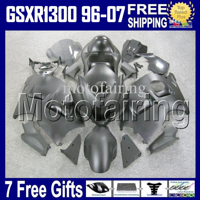 7gifts + Tank ALL Flat noir Pour SUZUKI Hayabusa GSXR1300 GSX-R1300 96 97 98 99 00 01 GSX R1300 HR1520 GSXR 1300 02 03 04 05 06 07 Carénage