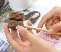 Wholesale Manual Toys - New Cartoon 2in1 Stationery Chocolate Pencil Sharpener Eraser Gift Office Decor Toy Sharpener